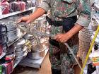 A dona de uma loja de variedades em Coxim encontrou uma Iguana em uma prateleira da loja