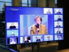 Chanceler alemã Angela Merkel participa de videoconferência com a cúpula da liderança de seu partido