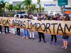 Manifestação em repúdio à morte de João Alberto Silveira, que foi espancado violentamente dentro da loja do Carrefour, em Porto Alegre, no Rio Grande do Sul