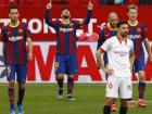 Messi comemora após marcar mais um gol contra o Sevilla