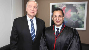 O presidente do Tribunal de Justiça, Divoncir Maran com o procurador geral de Justiça, Paulo Passos