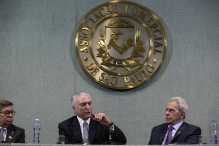 O presidente Michel Temer discursa na cerimônia de abertura da sessão plenária da Federação das Associações Comerciais do Estado de São Paulo