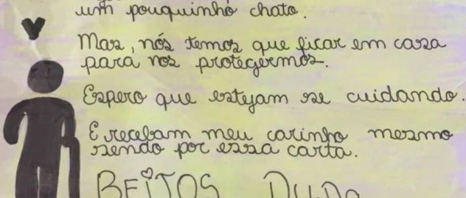 Crianças enviam cartas com mensagens de empatia a idosos que vivem em asilos