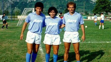 Careca e Maradona foramaram grande dupla no Napoli; na foto, o brasileiro Alemão ao lado dos dois