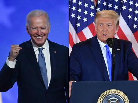 O presidente eleito dos Estados Unidos, o democrata Joe Biden, e o presidente republicano, Donald Trump