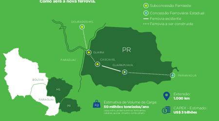 Mapa mostra o trecho da ferrovia que vai ligar MS ao Porto de Paranaguá