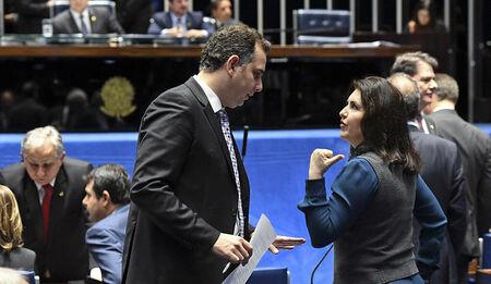 Rodrigo Pacheco (DEM-MG) e Simone Tebet (MDB-MS)