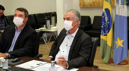 O secretário Eduardo Riedel e o governador de MS, Reinaldo Azambuja