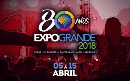 A abertura da Expogrande no dia 5 de abril, quinta-feira, terá portões livres com shows da consagrada dupla Edson & Hudson e do cantor Gustavo Mioto