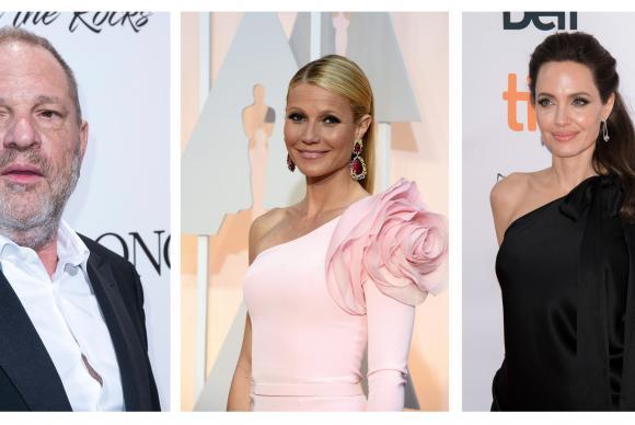 Mix de fotografías de arquivo que mostram o produtor Weinstein e as atrizes Gwyneth Paltrow (centro) e Angelina Jolie