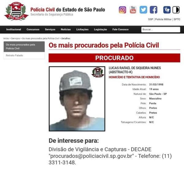 Rafael de Siqueira Nunes, de 19 anos, foi detido na região de Heliópolis