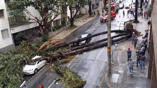 Segundo o Corpo de Bombeiros, o policial militar (PM) Nilsimar Santos, de 48 anos, dirigia seu carro pela Rua Recife, em Realengo, na zona oeste, quando foi atingindo por uma árvore que desabou sobre o veículo