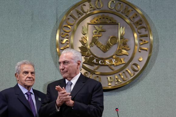 São Paulo - O presidente Michel Temer participa da cerimônia de abertura da sessão plenária da Federação das Associações Comerciais do Estado de São Paulo (Beto Barata/PR)