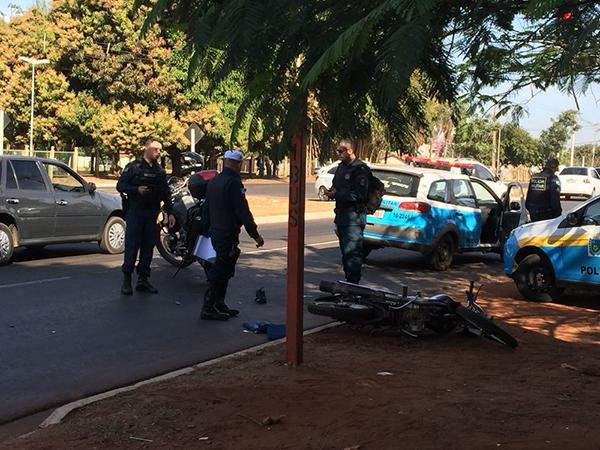 Polícia no local da tentativa de roubo