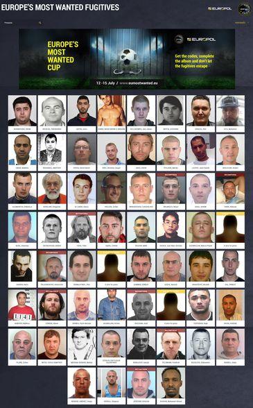 Mosaico do jogo Copa dos Mais Procurados criado pelo Europol