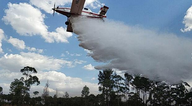 Avião do 2º Esquadrão de Aviação Operacional do Corpo de Bombeiros do DF que atuará no combate aos incêndios em MS