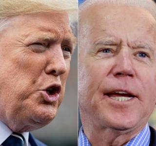 Presidente dos Estados Unidos Donald Trump e o candidato Joe Bide
