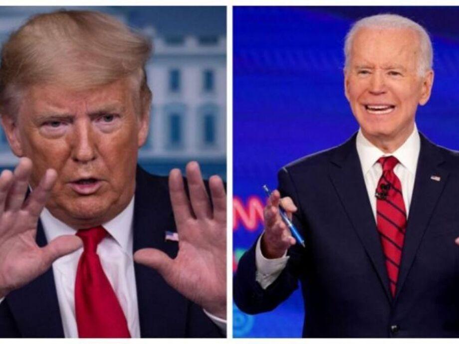 Presidente dos EUA, Donald Trump, e o candidatoJoe Biden