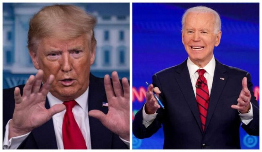 O presidente Donald Trump e o democrata Joe Biden