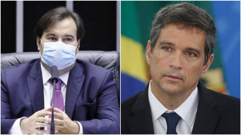 O presidente da Câmara, Rodrigo Maia, e o presidente do Banco Central, Roberto Campos Neto
