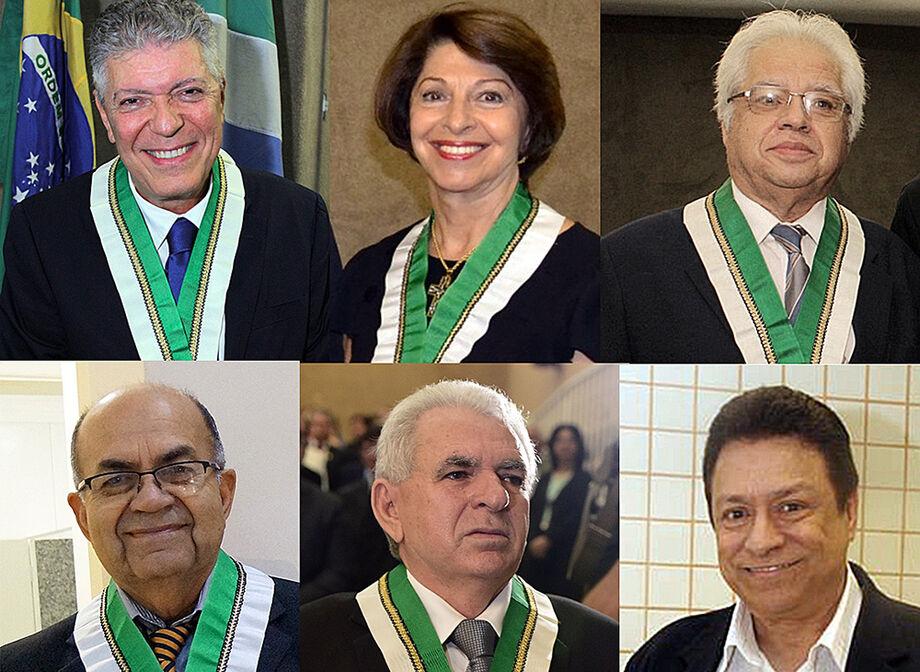 A nova diretoria: Henrique Medeiros, Marisa Serrano, Valmir Corrêa, Samuel Medeiros, Guimarães Rocha e Américo Calheiros