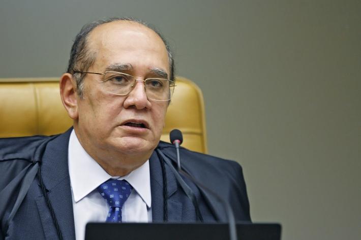 O ministro Gilmar Mendes, do Supremo Tribunal Federal, no plenário da Corte durante sessão por videoconferência.