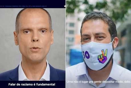 Bruno Covas (PSDB) e Guilherme Boulos (PSOL) na estreia do horário eleitoral do segundo turno
