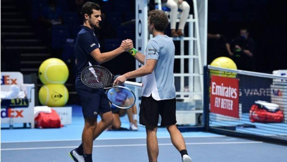 Bruno Soares e Mate Pavic durante jogo do ATP Finals 2020