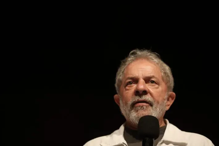 Lula em dezembro de 2017 no Sindicato dos Bancários, em Brasília