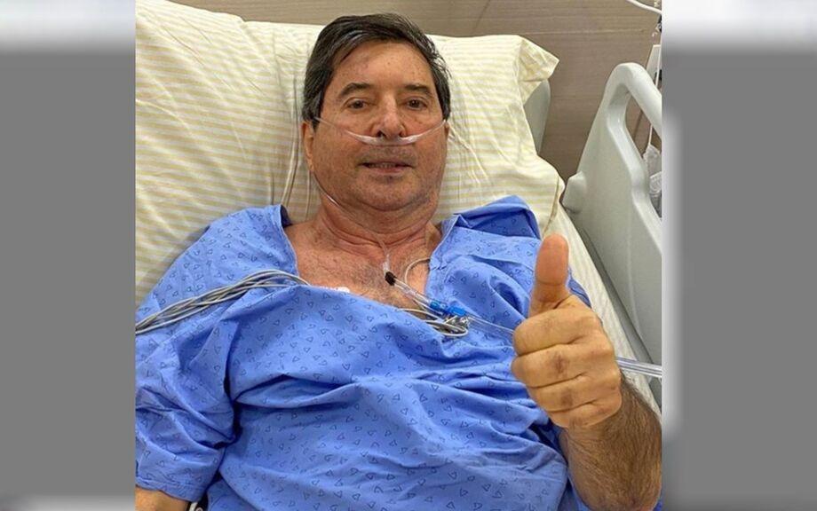 Maguito Vilela foi fotografado pelo filho Daniel Vilela antes da entubação no hospital Albert Einstein, em São Paulo