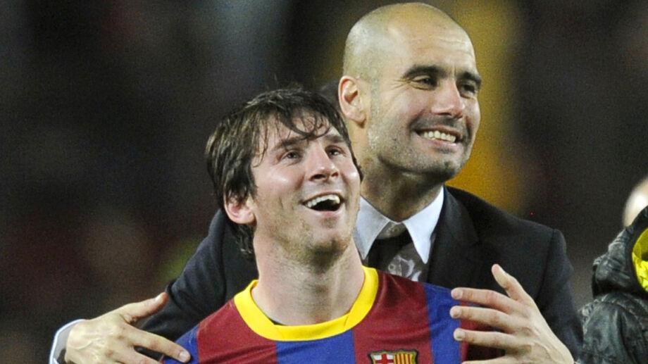 Pep Guardiola e Messi em partida do Barcelona