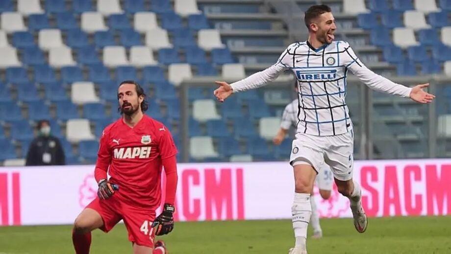 Gagliardini marcou o terceiro gol da vitória da Inter de Mião sobre o Sassuolo