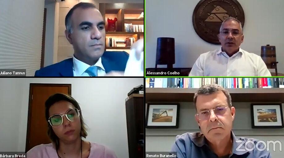 Participaram do webinar o especialista em agronegócio e advogado Renato Buranello, o advogado Juliano Tannus, e o presidente do SRCG (Sindicato Rural de Campo Grande), Alessandro Coelho