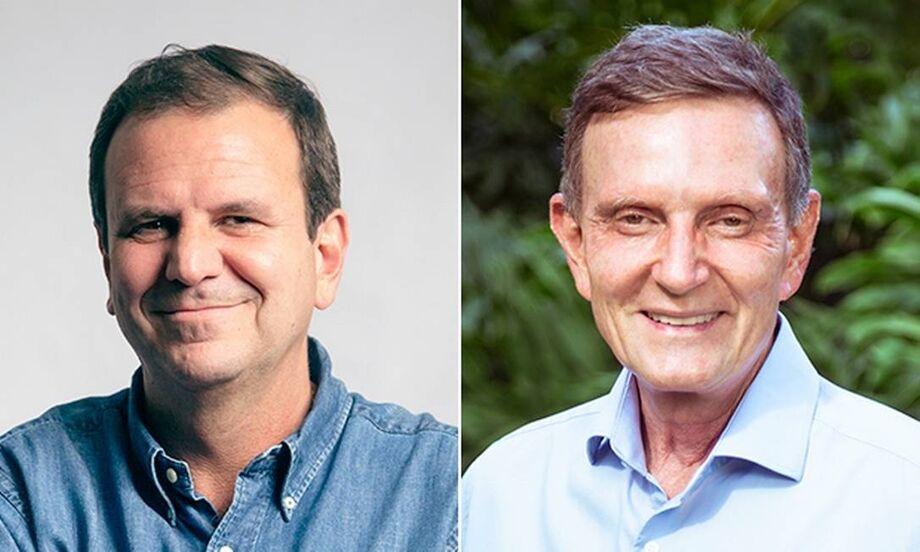 Os candidatos a prefeito do Rio Eduardo Paes (DEM) e Marcelo Crivella (Republicanos)