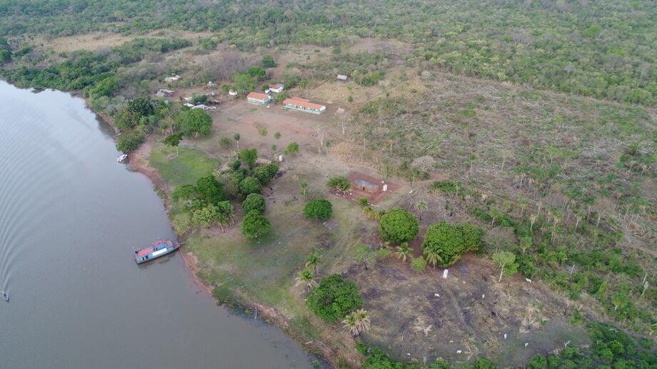 Vista aérea da aldeia Uberaba