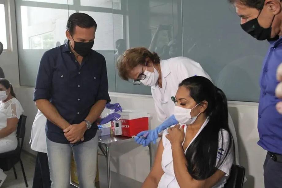 Doria durante lançamento da campanha de vacinação contra covid em Ribeirão Preto