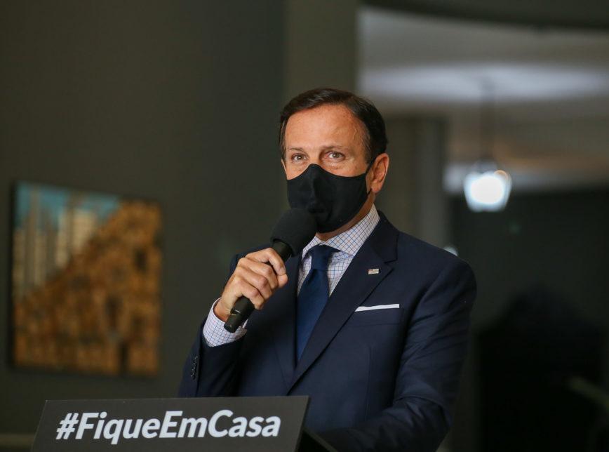 O governador João Doria (PSDB-SP) em entrevista coletiva sobre a pandemia