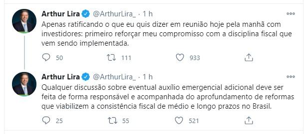 Mensagem de Arthur Lira no Twitter