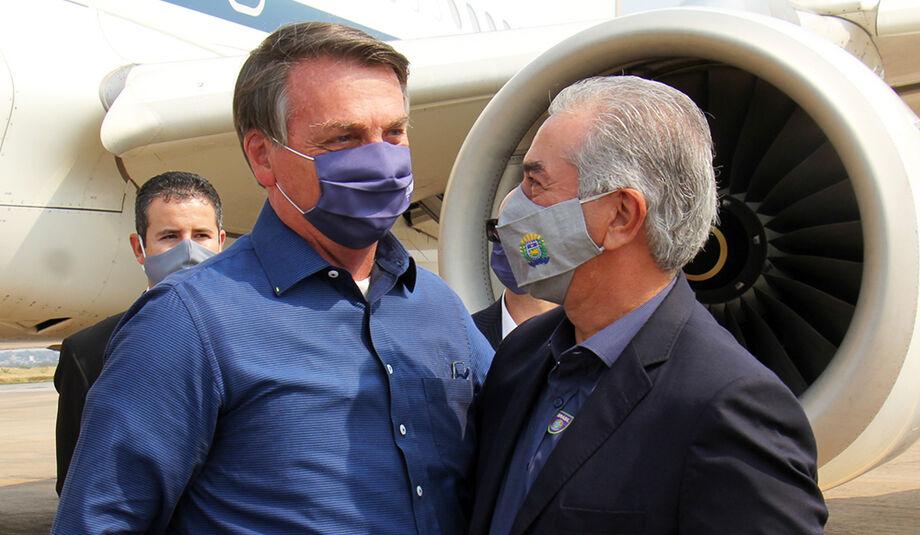O presidente Jair Bolsonaro e o governador de MS, Reinaldo Azambuja