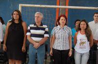 Nutricionista Lidiane Brittes, coordenador Danilo Medeiros, secretária Educação Maria Cecilia e prof