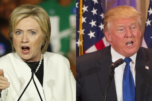 Os candidatos Hillary Clinton, do Partido Democrata, e Donald Trump, do Partido Republicano