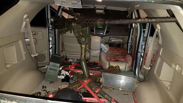 A arma estava acoplada na traseira de uma camionete Toyota Hilux SW4
