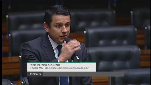 Deputado federal Elizeu Dionizio (PSDB/MS) em discurso no plenário da Câmara dos Deputados,