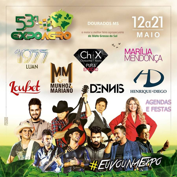 Na sexta-feira, a agenda de shows será aberta pelo cantor Luan Santana