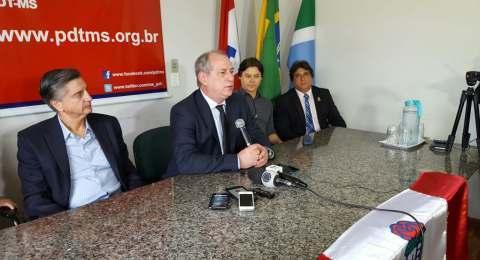 Ciro Gomes na sede estadual do PDT em Campo Grande