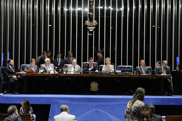 Sessão sobre a reforma trabalhista realizada na quinta-feira (11), sob a presidência do senador Cássio Cunha Lima, ao lado da senadora Marta Suplicy, presidente da Comissão de Assuntos Sociais, e do senador Tasso Jereissati, presidente da Comissão de Assu