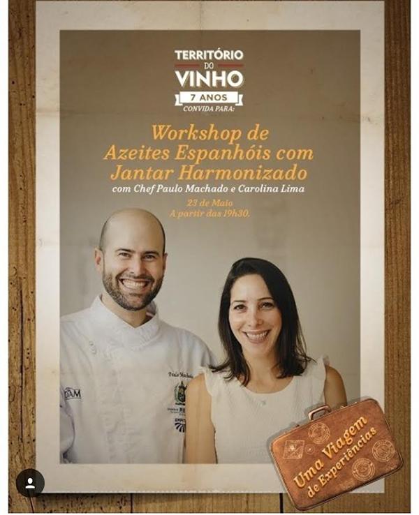 Paulo Machado junto com Carolina Lima, especialista em azeites, darão um Workshop de Azeites seguido de um jantar harmonizado com vinhos