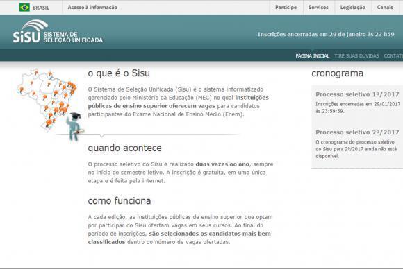 Página do Sisu na internet - Reprodução/Agência Brasil