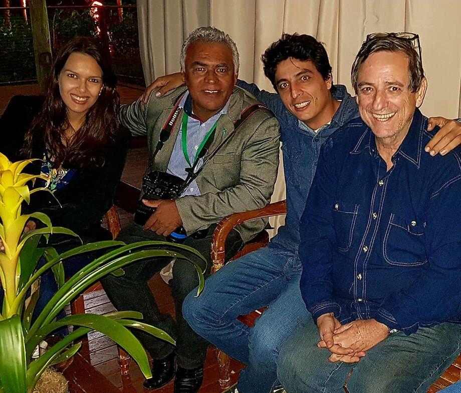 Profissionais de Bonito na cobertura do festival, Jabuthy, Kemila, Bosco com Chico Ribeiro