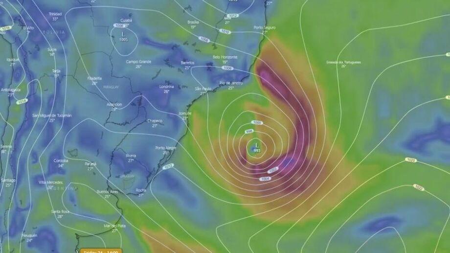Tudo acontece sobre o mar, mas algumas rajadas de vento, com até 60 km/h poderão ser observadas sobre o continente, diz